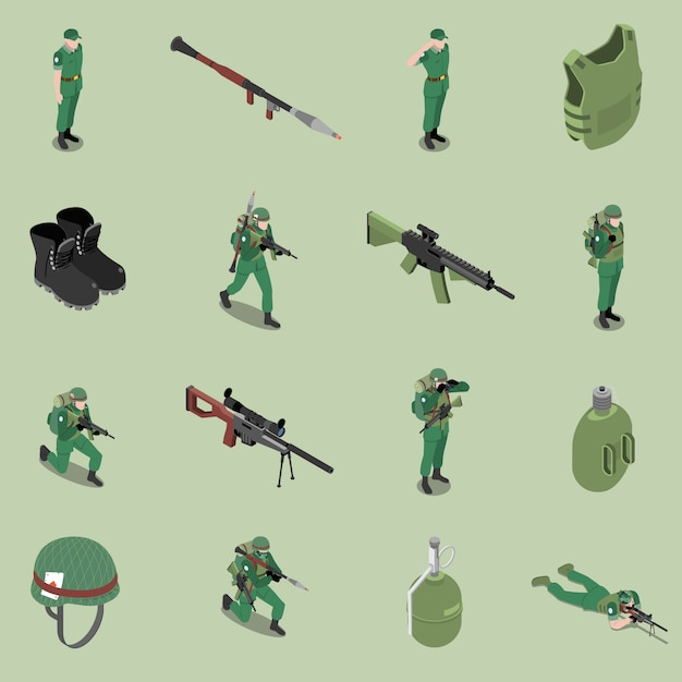 Soldaat apparatuur isometrische set van helm kogelvrije geweren enkellaarsjes soldaat jar geïsoleerde pictogrammen Gratis Vector