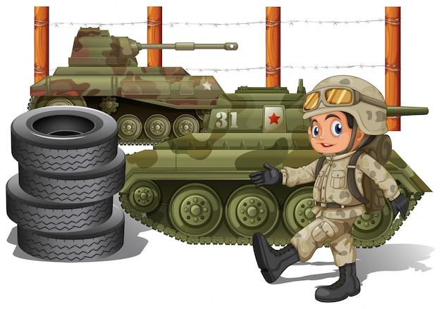 Soldaat en militaire tanks Premium Vector
