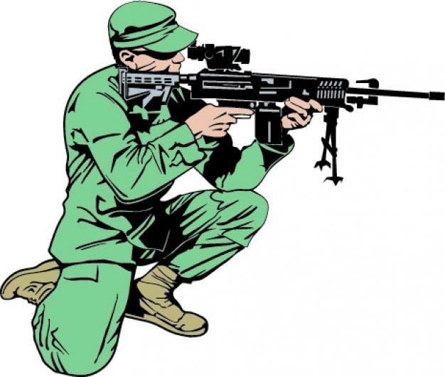 soldaat met geweer arm gratis vector