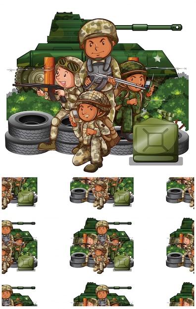 Soldaten op wit wordt geïsoleerd Gratis Vector