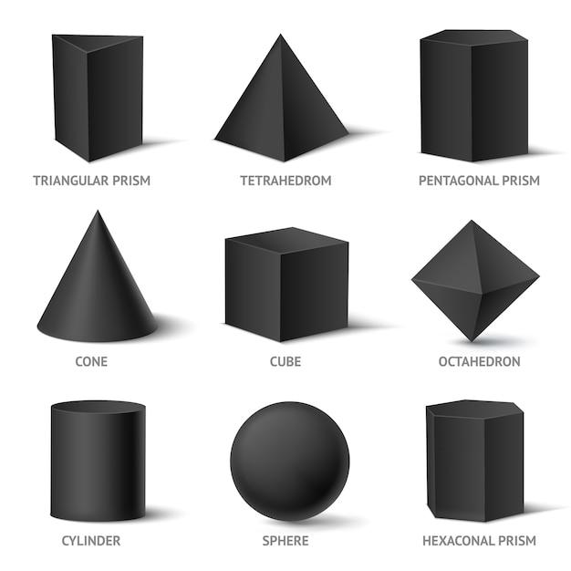 Solide geometrische vormen set Gratis Vector