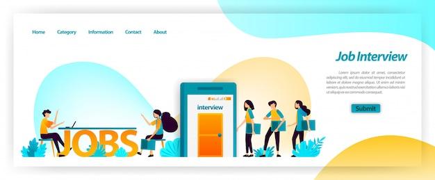 Sollicitatiegesprek toepassing bij het verkrijgen van de beste jonge werknemers voor het team van het bedrijf. medewerkers vinden, vinden en werven en aannemen. websjabloon bestemmingspagina Premium Vector