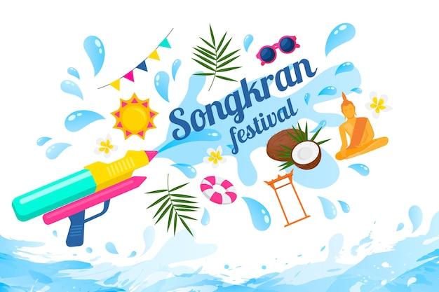 Songkran festival met waterpistool Gratis Vector