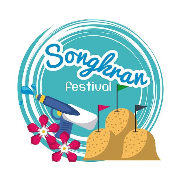Songkran festivalontwerp Premium Vector