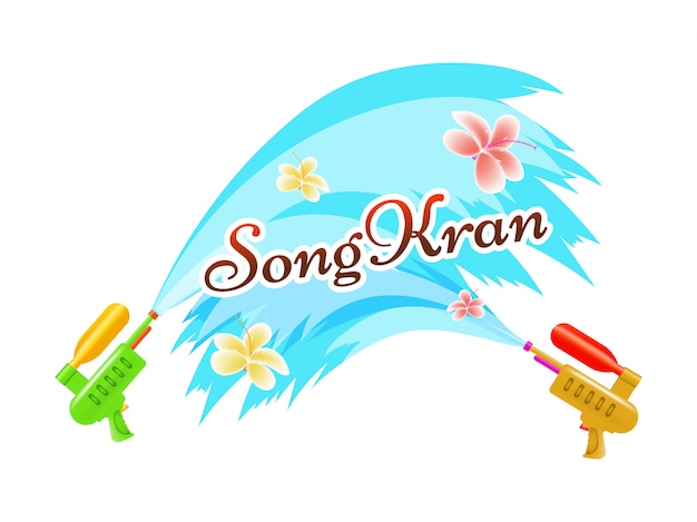 Songkran festivalviering. Premium Vector