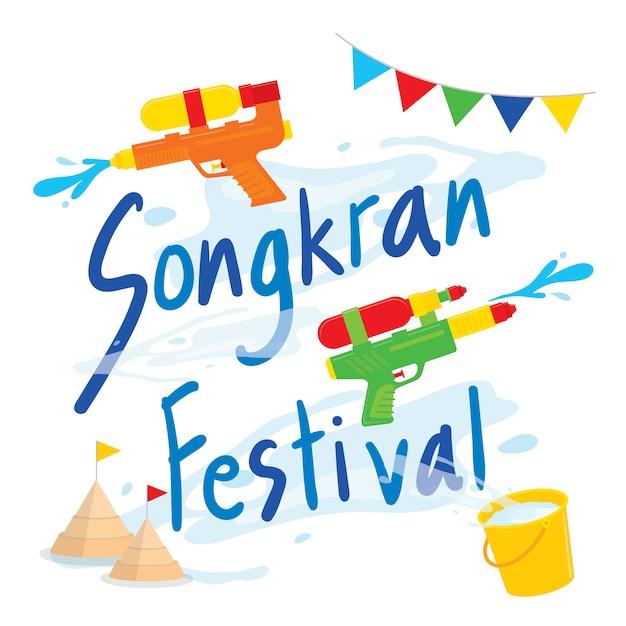 Songkran-het waterplons van het festival van thailand, thaise traditionele ontwerpvector als achtergrond Premium Vector
