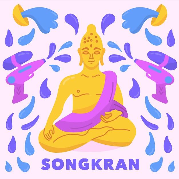 Songkran met boeddha en waterkanonnen Gratis Vector
