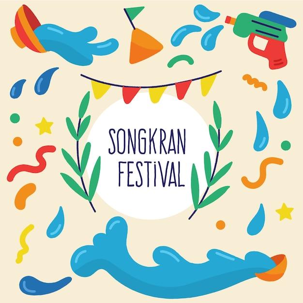 Songkran met waterpistolen Gratis Vector