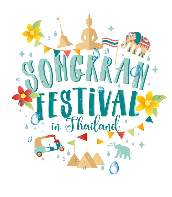 Songkranfestival in thailand van april Premium Vector