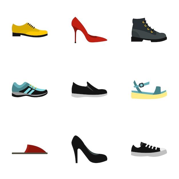 Soort schoenen set, vlakke stijl Premium Vector