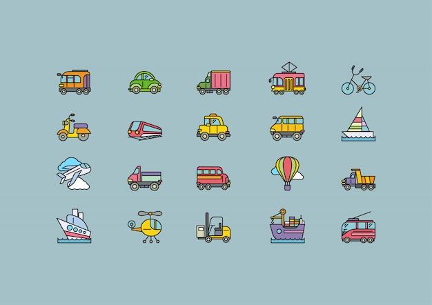 Soorten transport set kleurrijke overzicht pictogrammen Premium Vector