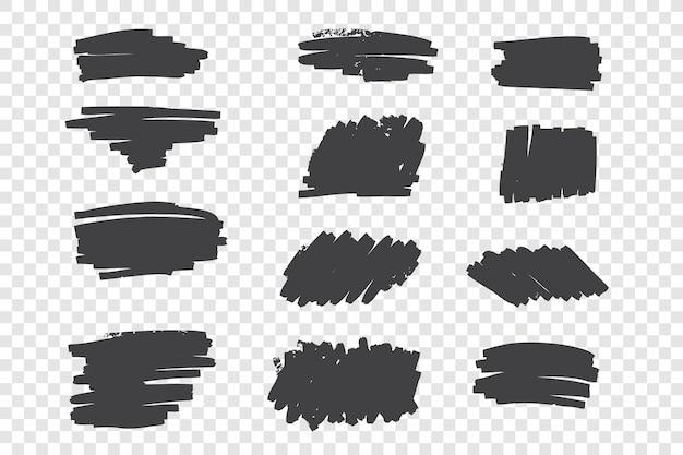 Soorten zwarte potloodstreken overhandigen getrokken reeks Premium Vector