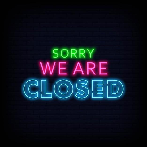 Sorry, we zijn gesloten neon tekenen tekst vector Premium Vector
