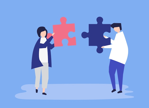 Soulmates die puzzelstukjes aan elkaar verbinden Gratis Vector
