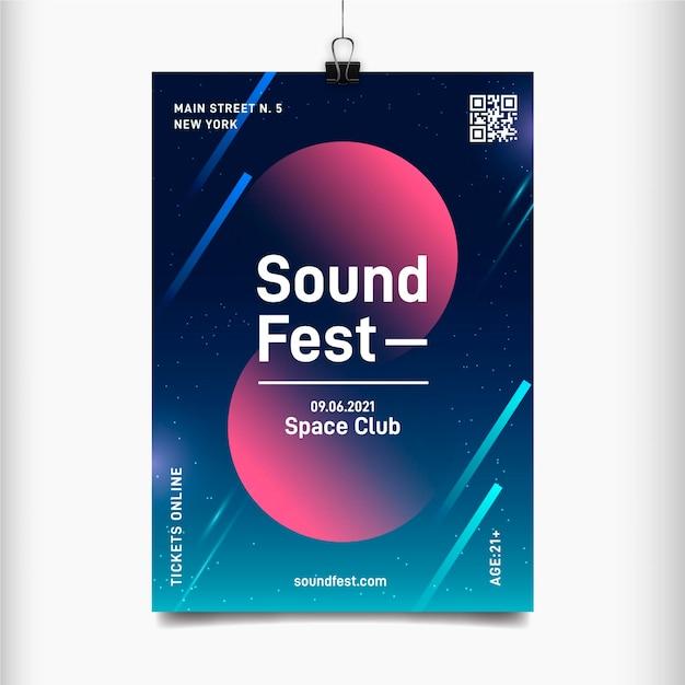 Sound fest abstracte flyer voor muziekevenement Gratis Vector