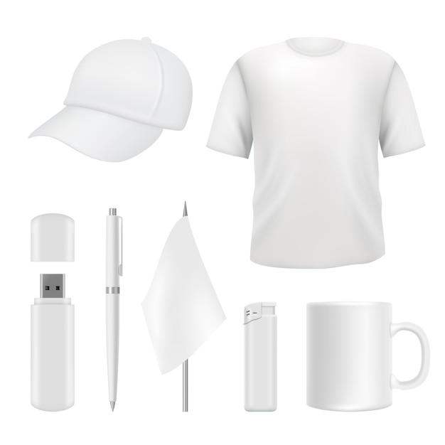 Souvenirs sjablonen. promotionele branding geschenken lege elementen. lege bedrijfsidentiteit op wit Premium Vector