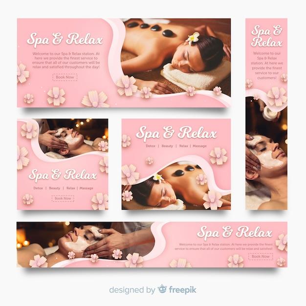 Spa banner collectie met foto Gratis Vector