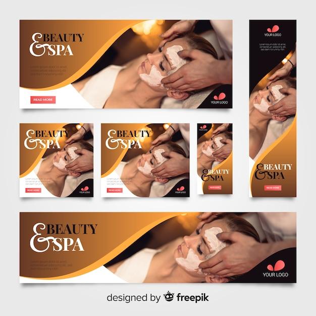 Spa banners collectie met foto Gratis Vector