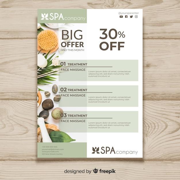 Spa brochure sjabloon met foto Gratis Vector