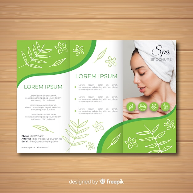 Spa driebladige brochure Gratis Vector