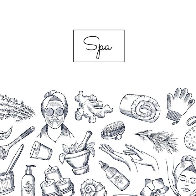 Spa-elementen met schets stijl Premium Vector