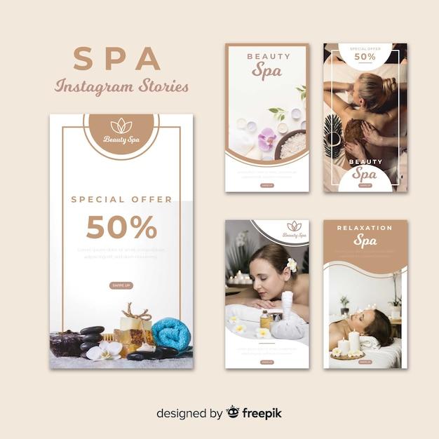 Spa instagram verhalen sjabloon Gratis Vector