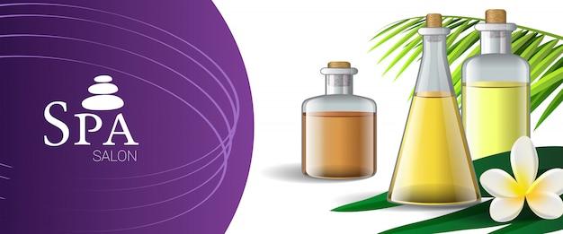 Spa salon brochureontwerp met massageolie, palmblad en tropische bloem Gratis Vector