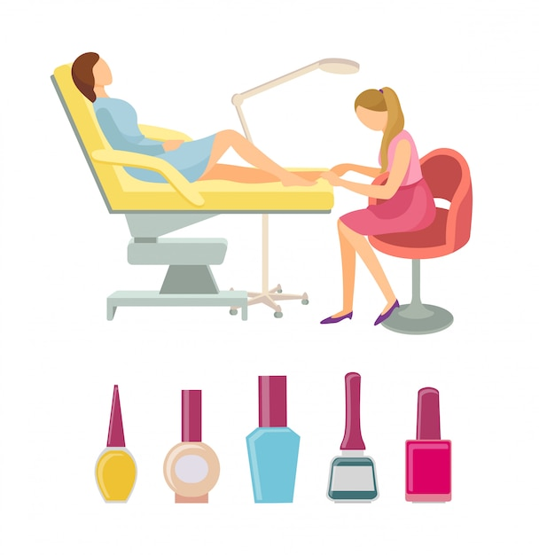 Spa salon pedicure procedures pictogrammen set vector Premium Vector