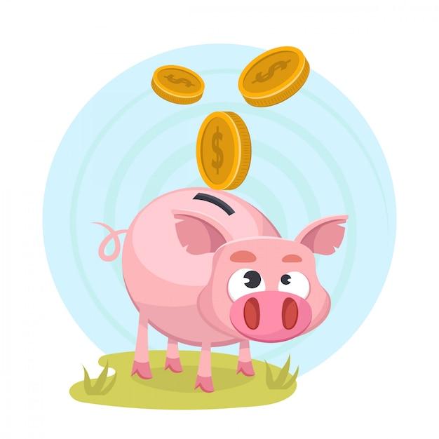 Spaarpot met geld Premium Vector