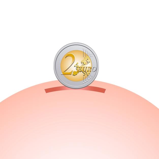 Spaarpot met twee euro munt Premium Vector