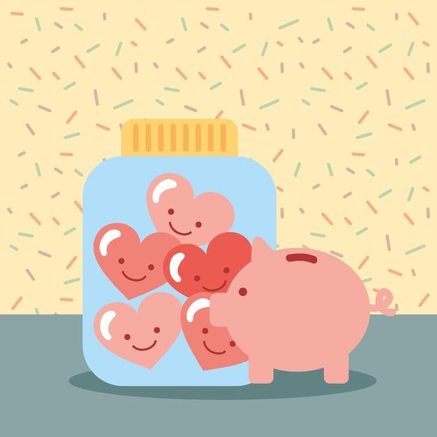 Spaarpot pot volle liefde harten doneren naastenliefde Premium Vector