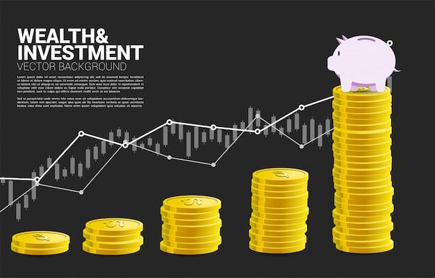 Spaarvarken bovenop grafiek van geldstapel Premium Vector