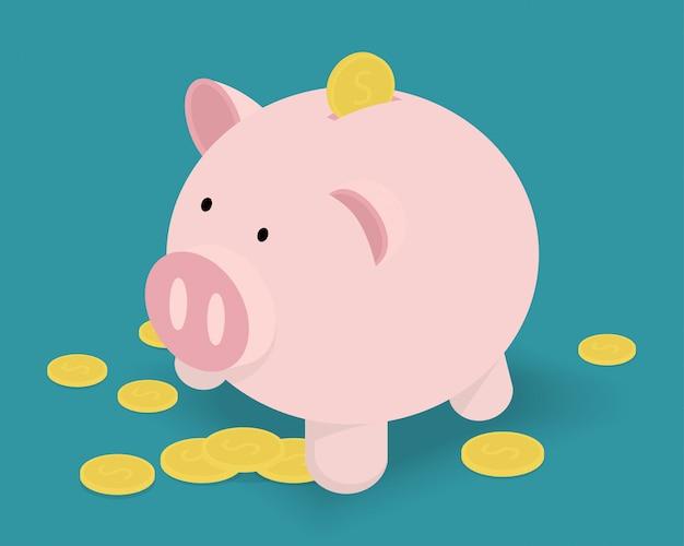 Spaarvarken en gouden munten. Premium Vector