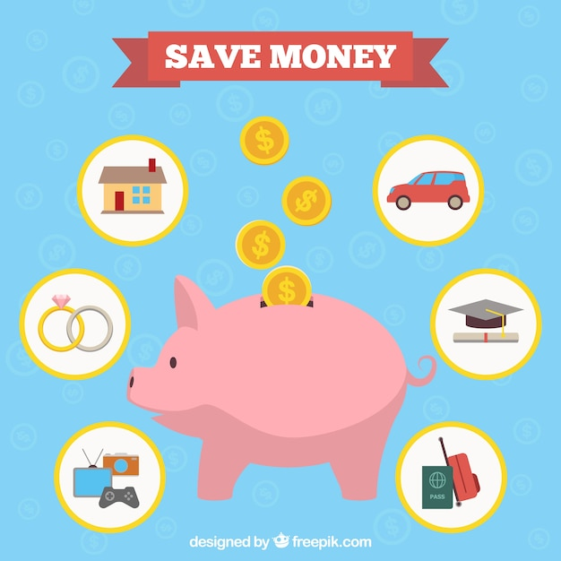 Spaarvarken met besparingen Gratis Vector