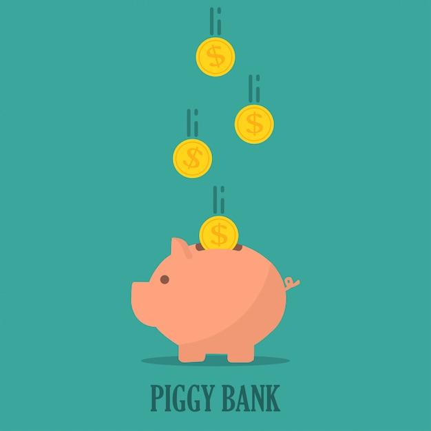 Spaarvarken met munten in een plat ontwerp. het concept van sparen of geld besparen of een bankdeposito openen Premium Vector