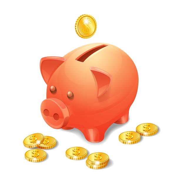 Spaarvarken met realistische gouden munten Gratis Vector