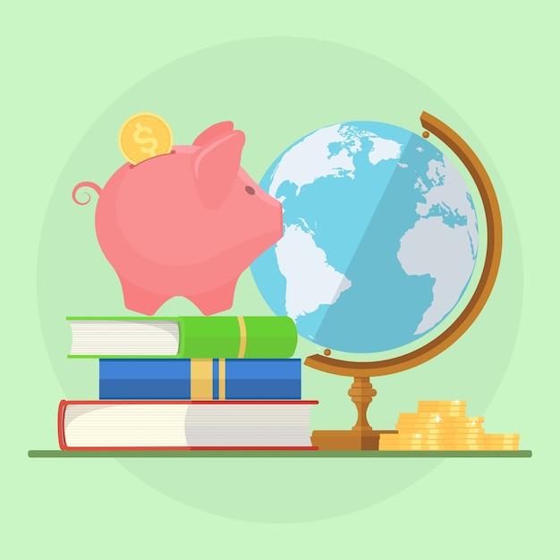 Spaarvarken met stapel boeken, geld en bol. sparen voor onderwijs Premium Vector