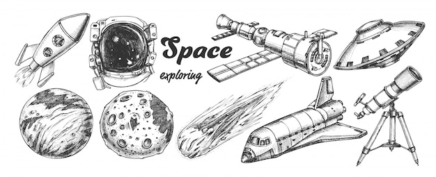 Space exploring Premium Vector