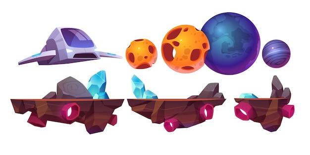 Space game platform, cartoon arcade geïsoleerde elementen ruimteschip, vliegende rotsen en buitenaardse planeten voor computer of mobiel 2d gui-ontwerp. kosmos-avontuur, universum futuristische illustratie set Gratis Vector