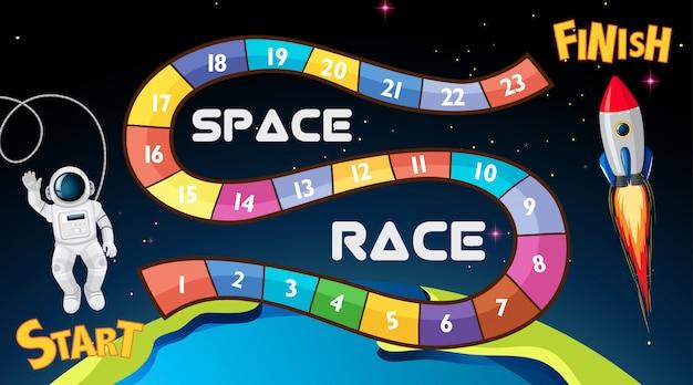 Space race bordspel achtergrond Gratis Vector