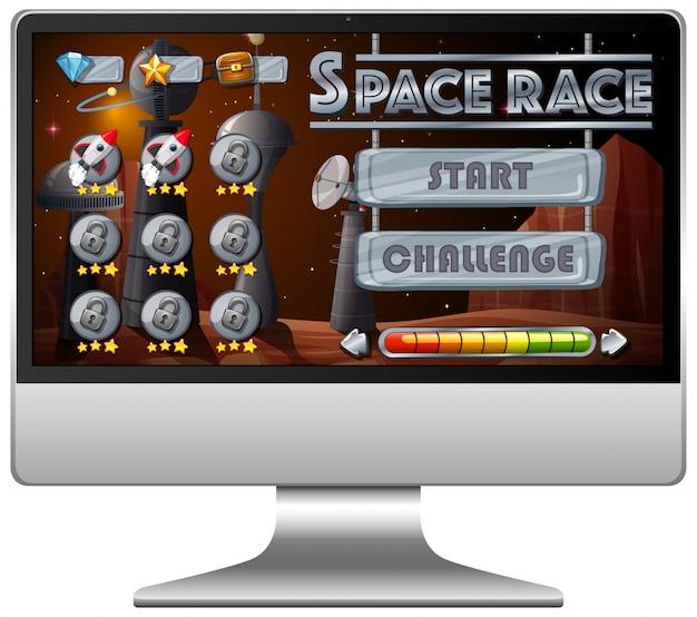 Space race missie spel op computerscherm Gratis Vector