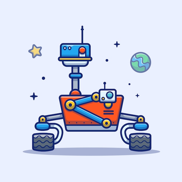 Space robot-pictogram. space robot, planet and stars, space icon white isolated Premium Vector