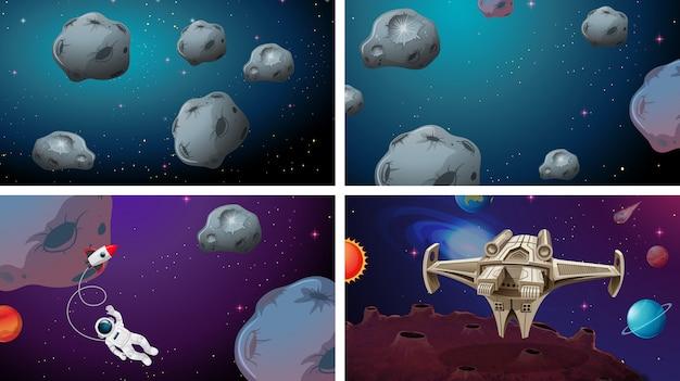 Space scene set of achtergrond Gratis Vector