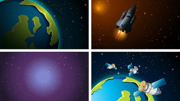 Space scene set Gratis Vector