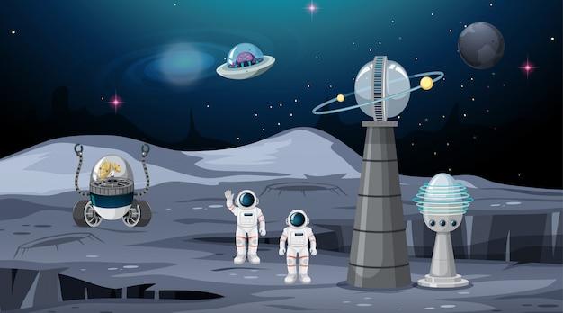 Space scene Premium Vector