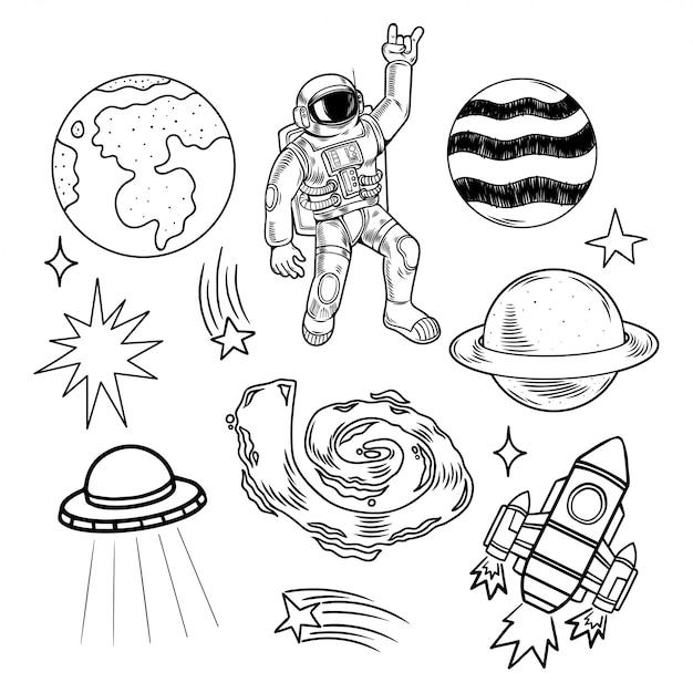 Space set bundel collectie gravure met aarde planeten, sterren, ruimtevaarder, astronaut, ufo, raket, melkwegstelsel, meteoriet. moderne doodle cartoon afbeelding. Premium Vector