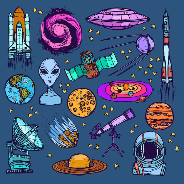 Space sketch set gekleurd Gratis Vector