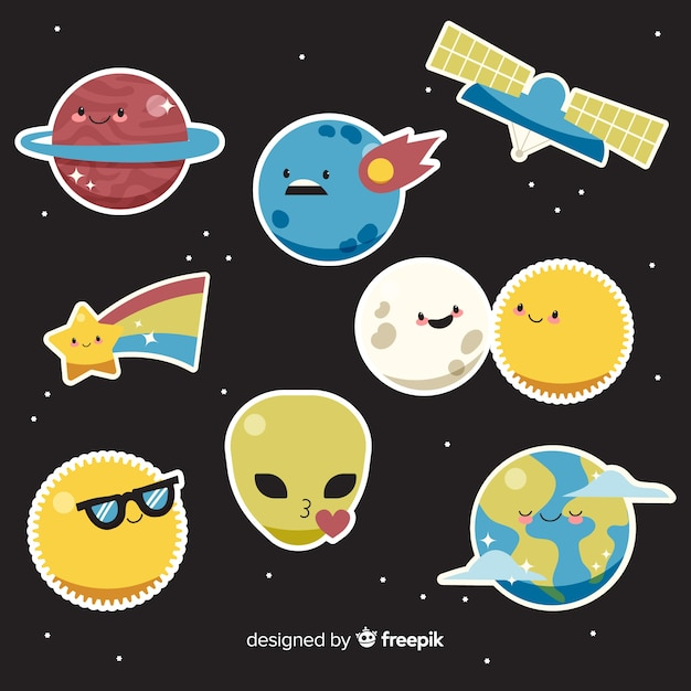 Space sticker collectie cartoon design Gratis Vector