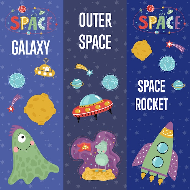 Space theme cartoon web banners collectie Premium Vector