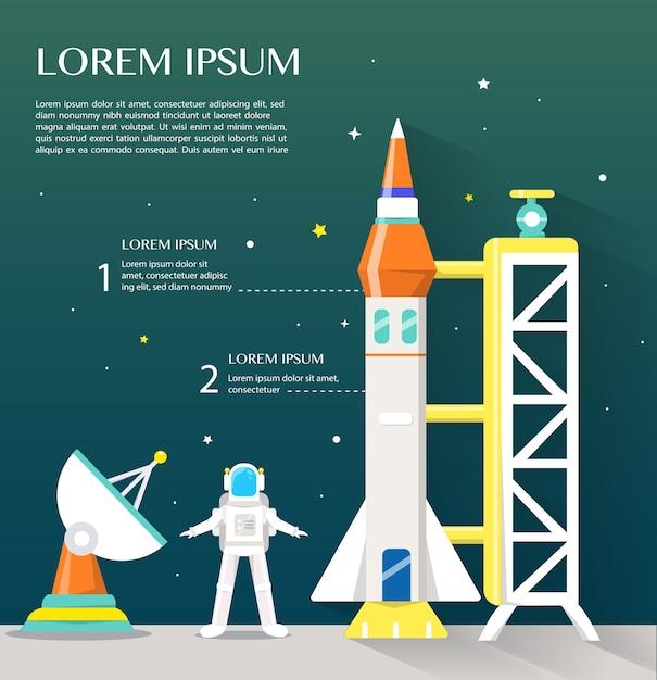 Spaceshuttle sattlelite en astronaut met hoog technologisch infographics vlak ontwerp. Premium Vector